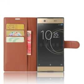 Housse Sony Xperia XA1 Cuir Wallet Croco - Noir